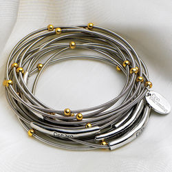 Piano Wire Bracelets Engraved with Inspirational Words
