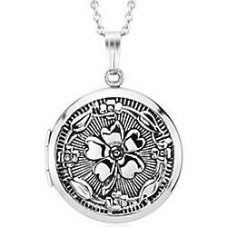 Antiqued Round Floral Locket Necklace in Sterling Silver