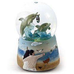 Dolphins with Wedding Ring Animated Water Globe