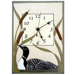 Loon in Cattails Ceramic Wall Clock