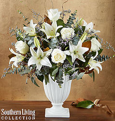 Graceful Style White Blooms Sympathy Bouquet in Pedestal Vase