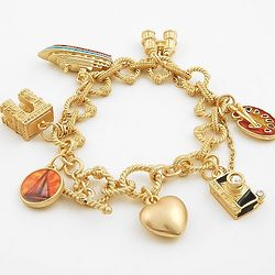 Travel Theme Multi-Color Goldtone Charm Bracelet