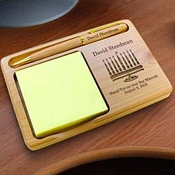 Personalized Menorah Wooden Notepad & Pen Holder