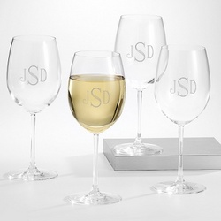 White Wine Glasses with Monogram