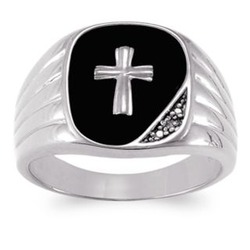 Men's Sterling Silver Genuine Black Onyx and Diamond Cross Ring