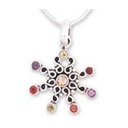'Snowflake' Garnet and Amethyst Pendant Necklace