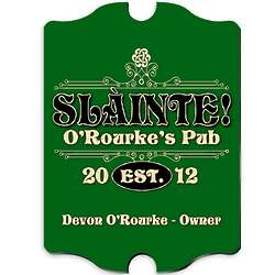 Vintage Personalized Slainte Pub Sign