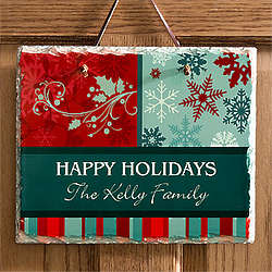 Personalized Happy Holidays Wall Plaque