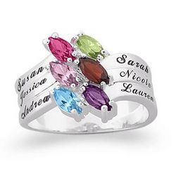 10K White Gold Family Marquise Birthstone Name Ring