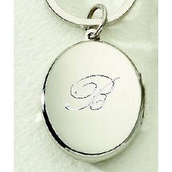 Engraveable Oval Locket Key Chain