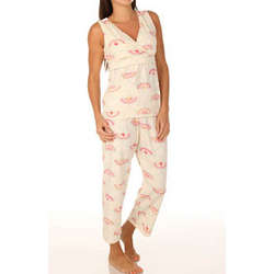Peacocks Cross Front Capri Pajamas
