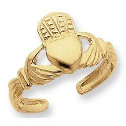Irish Claddagh Toe Ring in 14k Gold