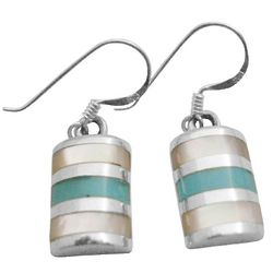 Sterling Silver Green Turquoise Inlaid Earrings
