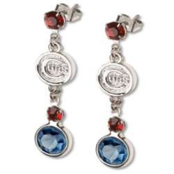Crystal Earrings with Chicago Cubs Logo Charm