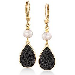 18K Gold Over Sterling Silver Black Drusy Earrings