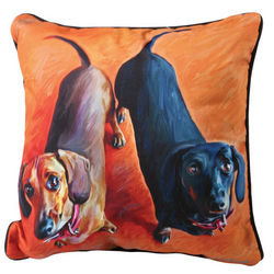 Dachshund Dog Portrait Throw Pillow