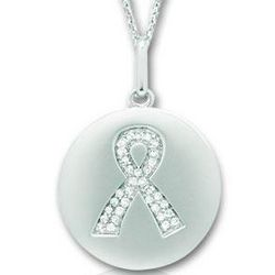 14k White Gold Diamond Breast Cancer Awareness Disk Pendant