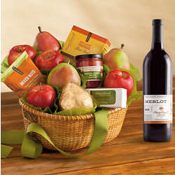 Roxy Ann Snack Gift Basket Classic with Wine