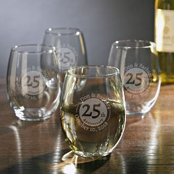 Personalized Landmark Anniversary Etched Stemless Wine Glasses