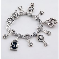 Silvertone Keys to My Heart Marcasite Charm Bracelet