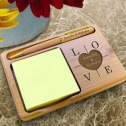 Personalized Heart of Love Wooden Notepad & Pen Holder