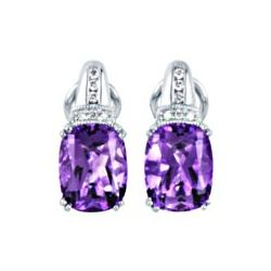 14kt White Gold Cushion Cut Amethyst Earrings with Diamond Accent