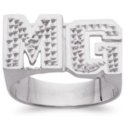Sterling Silver Diamond Block Initials Ring