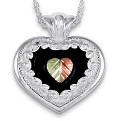 Gold Leaves Over Sterling Antiqued Heart Necklace