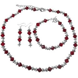Swarovski Siam Red Crystal Bali Necklace, Earrings & Bracelet