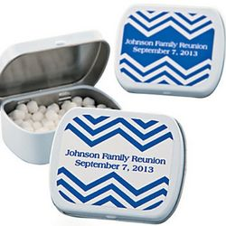 Blue Chevron Personalized Mint Tin Favors