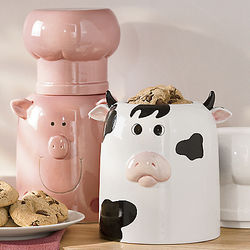 Farm Animal with Chef's Hat Ceramic Cookie Jar