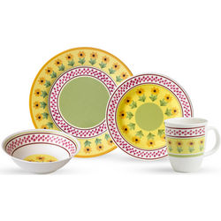 16-Piece Sunflower Design Melamine Dinnerware Set