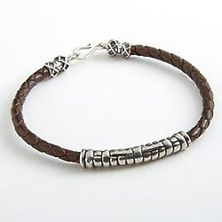 Javanese Silver and Braided Leather Bracelet