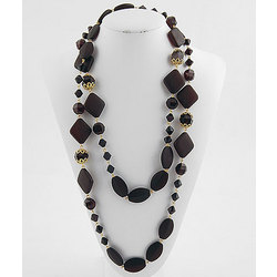 Jet Black Acrylic Designer Beads Necklace with Goldtone Accents