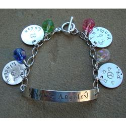 My Angels Hand Stamped Charm Bracelet