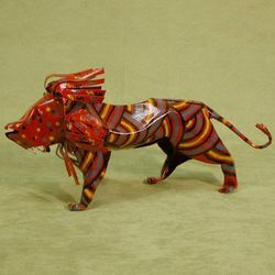 Brave Lion Tin Sculpture