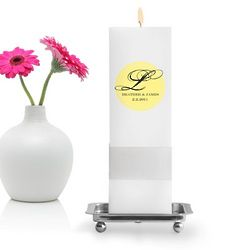 Personalized Square Magical Monogram Unity Candle with Stand