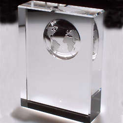 Crystal Plaque and World Globe Paperweight