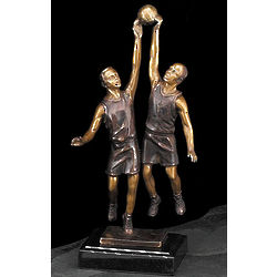Bronzed Basketball Players on Marble Base
