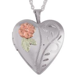 Sterling Flower Heart Locket