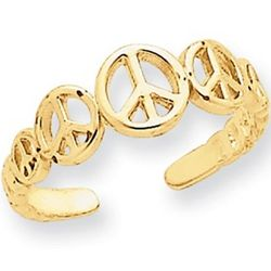 Peace Sign Toe Ring in 14k Gold