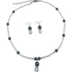 Swarovski Tahitian Pearls and Crystals Necklace and Earrings
