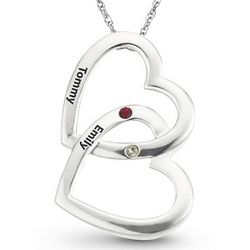 Sterling Silver Double Hearts Birthstone Pendant