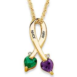 Couple's Birthstone Heart Name and Diamond Ribbon Necklace
