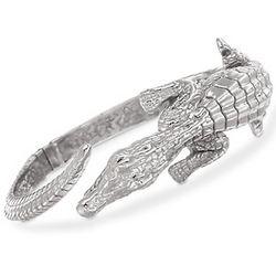 Sterling Silver Alligator Wrap Bracelet with Emerald Eyes