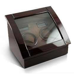 Contemporary Hi-Gloss Rosewood Dual Rotor Watch Winder