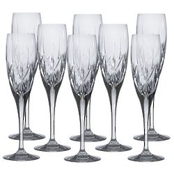 8 Country Manor Crystal Champagne Flutes