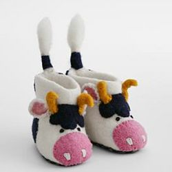 Toddler's Wool Cow Slippers