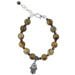 Stellar Hamsa Jasper Beaded Bracelet