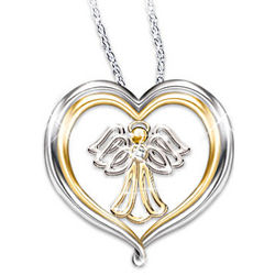 My Dear Granddaughter Heart-Shaped Angel Pendant Necklace
